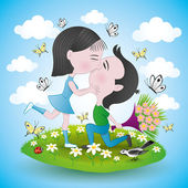 Romantic couple. — Stock Vector
