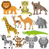 Vector set. African animals. — Stock Vector