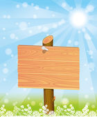 Vector illustration. Wooden signpost. — Stock Vector