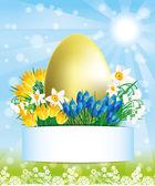 Vector. flores y huevo de oro. — Vector de stock