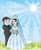 Vector illustration. Newlyweds. — Stock Vector