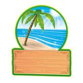 Vector illustration. Tropical beach. — Stock Vector