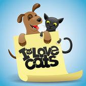 Vector illustration. Cat and dog. — Vector de stock