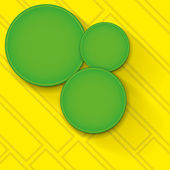 Green circles on yellow background. — Vector de stock