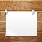 Paper on wood background. — Vector de stock