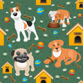 Background. Cute dogs. — Vector de stock