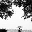 Loving couple under an umbrella — Stock Photo