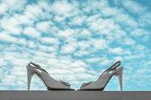 Elegante high heels hochzeitsschuhe — Stockfoto