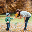 Little boy and his mother in the autumn park — 图库照片