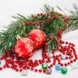 Christmas composition with christmas ball — Stock Photo