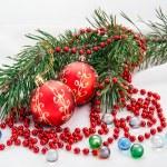 Christmas composition with christmas ball — Stock Photo
