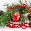 Christmas ball with pine branch — Stockfoto
