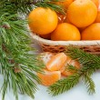 Christmas decoration with mandarin and pine branches — Stock Photo #34755421