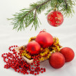 Christmas and new year red ball — Stock Photo