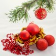 Christmas and new year red ball — Stock Photo #34824873