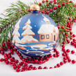 Big blue baubles for new year firtree — Stock Photo
