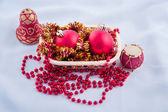 Red baubles for new year firtree — Stock Photo