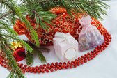 Red bag with Christmas toys — Stock Photo