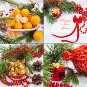Christmas and new year decoration set — Stock Photo