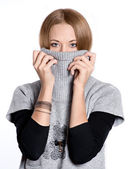 Young woman wearing a pullover — Stock Photo