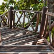 Wooden Stairway in the jungle — Stock Photo
