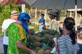 Ripe pineapple at fruit market — Stock Photo