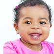 10 month old african baby girl in pink — Stock Photo