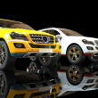Stock Photo: White And Yellow SUV's On Black Background