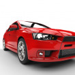 Red race car side view front close up — Stock Photo #49904967
