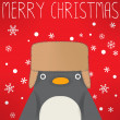 Penguin - xmas greeting card — Stock Vector