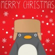 Stock Vector: Penguin - xmas greeting card