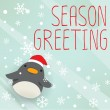 Penguin - mery xmas greeting card — Stock Vector