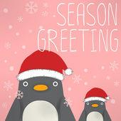 Penguin - x mas greeting card — Stock Vector