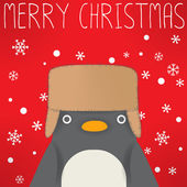 Penguin - xmas greeting card — Vector de stock