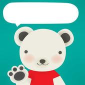 Polar bear - Xmas greeting card — Stock Vector