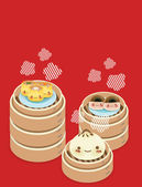 Cute Dim sum - Chinese Food — Stock Vector