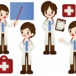 Doctor and nurse in various pose — Stock Vector #28384661