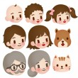 Collection of Cute Family — Stock Vector