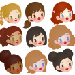 Collection of Cute Multi Ethnic Character — Vektorgrafik
