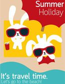 Chic Rabbit on The Beach in Summertime — Stock Vector
