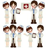 Doctor and nurse in various pose — Stock Vector