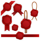 Collection of red sealing wax — Stock Vector