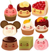 Collection of Cute Dessert — Stock Vector