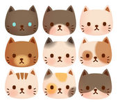 Collection of Cute Cat — Stock Vector