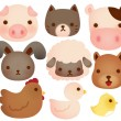 Collection of cute farm animals — Stock Vector