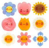 Collection of Cute Flowers — Stock Vector