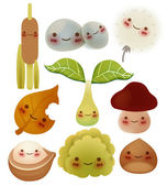 Collection of cute forest item — Stock Vector
