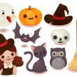Collection of cute halloween icon — Stock Vector #31081909