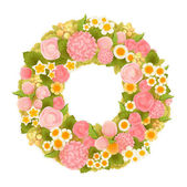 Sweet flower wreath — Stock Vector