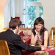 Woman Flirting In Restaurant — Stock Photo